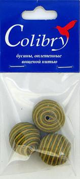 Бусины оплетеные вощеной нитью (оливково-горчичные)