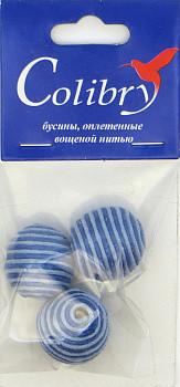 Бусины оплетеные вощеной нитью (сине-голубые)