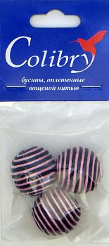 Бусины оплетеные вощеной нитью (чёрно-розовые)