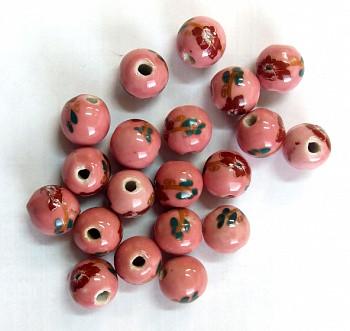 Бусы фарфор №3 (круглые розовые с цветком)