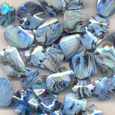Бусы пластик с голографическим эффектом 250 г/упак ±10%, ассорти 001 голубой