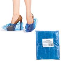 NO NAME 6019 Бахилы КОМПЛЕКТ 100 штук (50 пар) в упаковке, ЭКОНОМ, размер 40х15 см, 30 мкм, 3,2 г, ПВД, 6019