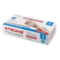 ЛАЙМА 605009 Перчатки виниловые белые, 50 пар (100 шт.), неопудренные, прочные, размер S (малый), LAIMA, 605009