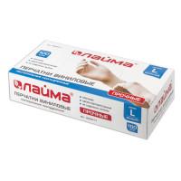 ЛАЙМА 605011 Перчатки виниловые белые, 50 пар (100 шт.), неопудренные, прочные, размер L (большой), LAIMA, 605011