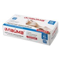 ЛАЙМА 605012 Перчатки виниловые белые, 50 пар (100 шт.), неопудренные, прочные, XL (очень большой), LAIMA, 605012