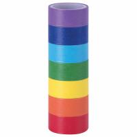 ОСТРОВ СОКРОВИЩ 661702 Клейкие WASHI-ленты для декора РАДУЖНЫЕ, однотонные, 15 мм х 3 м, 7 цветов, рисовая бумага, ОСТРОВ СОКРОВИЩ, 661702