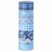 ОСТРОВ СОКРОВИЩ 661703 Клейкие WASHI-ленты для декора ОТТЕНКИ СИНЕГО, 15 мм х 3 м, 7 цветов, рисовая бумага, ОСТРОВ СОКРОВИЩ, 661703