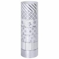 ОСТРОВ СОКРОВИЩ 661713 Клейкие WASHI-ленты для декора с фольгой СЕРЕБРИСТЫЕ, 15 мм х 3 м, 7 шт., рисовая бумага, ОСТРОВ СОКРОВИЩ, 661713