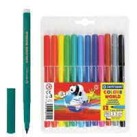 """CENTROPEN 7550/12TP Фломастеры CENTROPEN """"Color World"""", 12 цветов, эргономичная форма, смываемые, вентилируемый колпачок, 7550/12TP"""