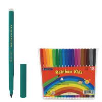 """CENTROPEN 7550/18 Фломастеры CENTROPEN """"Rainbow Kids"""", 18 цветов, смываемые, эргономичные, вентилируемый колпачок, 7550/18"""