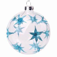 """MAGIC TIME 75850 Шар елочный стеклянный """"Голубые цветы"""", диаметр 8 см, с рисунком (глянец), 75850"""