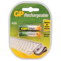 GP 75AAAHC-2DECRC2 Батарейки аккумуляторные GP, AAA, Ni-Mh, 750 mAh, комплект 2 шт., в блистере, 75AAAHC-2DECRC2