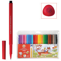 KOH-I-NOOR 771002BD04TERU Фломастеры KOH-I-NOOR, 24 цвета, смываемые, трехгранные, пластиковая упаковка, европодвес, 771002BD04TERU