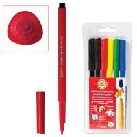 KOH-I-NOOR 771002JF04TERU Фломастеры KOH-I-NOOR, 6 цветов, смываемые, трехгранные, пластиковая упаковка, европодвес, 771002JF04TERU