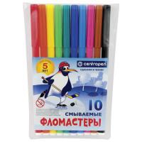 """CENTROPEN 7790/10 Фломастеры CENTROPEN, 10 цветов, """"Пингвины"""", смываемые, вентилируемый колпачок, полибег, 7790/10"""