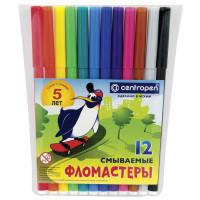 """CENTROPEN 7790/12 Фломастеры CENTROPEN, 12 цветов, """"Пингвины"""", смываемые, вентилируемый колпачок, полибег, 7790/12"""