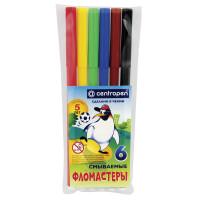 """CENTROPEN 7790/6 Фломастеры CENTROPEN, 6 цветов, """"Пингвины"""", смываемые, вентилируемый колпачок, полибег, 7790/6"""