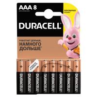 DURACELL 81267262 Батарейки КОМПЛЕКТ 8 шт., DURACELL Basic, AAA (LR03, 24А), алкалиновые, мизинчиковые, блистер, 81267262