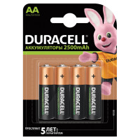 DURACELL 81472345 Батарейки аккумуляторные DURACELL, АА (HR06), Ni-Mh, 2500 mAh, КОМПЛЕКТ 4 шт., в блистере, 81472345