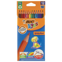 """BIC 82902910 Карандаши цветные BIC """"Kids ECOlutions Evolution"""", 12 цветов, пластиковые, заточенные, европодвес, 82902910"""