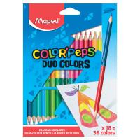 """MAPED 829601 Карандаши двухцветные MAPED (Франция) """"Color Pep's"""" 18 шт., 36 цветов, трехгранные, двусторонние, 829601"""