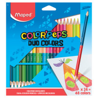 """MAPED 829602 Карандаши двусторонние MAPED (Франция) """"Color'Peps Duo"""", 24 штуки, 48 цветов, трехгранные, 829602"""