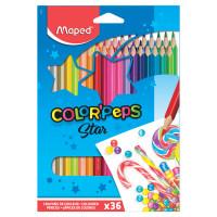 """MAPED 832017 Карандаши цветные MAPED (Франция) """"Color Pep's"""", 36 цветов, трехгранные, заточенные, европодвес, 832017"""