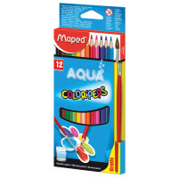 """MAPED 836011 Карандаши цветные акварельные MAPED (Франция) """"Color Pep's"""", 12 цветов + кисть, 2,9 мм, европодвес, 836011"""