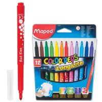 """MAPED 845020 Фломастеры MAPED (Франция) """"Color Pep's"""", 12 цветов, смываемые, трехгранные, картонная упаковка, 845020"""