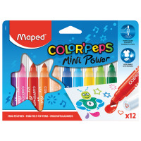 "MAPED 846612 Фломастеры MAPED (Франция) ""Color'peps Jumbo Mini"" 12 цветов, суперсмываемые, штампы, европодвес, 846612"