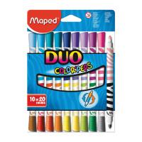 """MAPED 847010 Фломастеры двухсторонние MAPED (Франция) """"Color'peps Duo"""", 10 штук, 20 цветов, 1 мм, смываемые, 847010"""