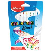 """MAPED 848010 Фломастеры MAPED (Франция) """"Color'peps"""" 10 цветов, наконечник-кисть, суперсмываемые, европодвес, 848010"""