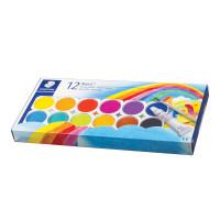STAEDTLER 888 NC12 Краски акварельные STAEDTLER (Германия), 12 цветов + белила, с кистью, пластиковая коробка, 888 NC12