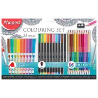 """MAPED 897417 Набор для творчества MAPED """"Graph'Peps"""", 10 фломастеров, 10 капиллярных ручек, 12 двусторонних цветных каранд., точилка, блистер, 897417"""