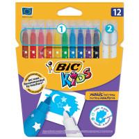 """BIC 9202962 Фломастеры """"Пиши и стирай"""" BIC, 12 штук, 10 цветов + 2 стирающих, суперсмываемые, вентилируемый колпачок, 9202962"""