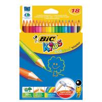 """BIC 937513 Карандаши цветные BIC """"Kids ECOlutions Evolution"""", 18 цветов, пластиковые, заточенные, европодвес, 937513"""