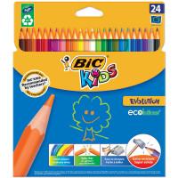 """BIC 937515 Карандаши цветные BIC """"Kids ECOlutions Evolution"""", 24 цвета, пластиковые, заточенные, европодвес, 937515"""
