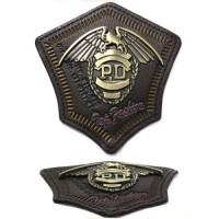 Прочие АРС-23895-1-АРС0001143290 ГХН14779 Нашивка (шеврон) 74*77мм (коричневая кожа/тертая бронза) коричневая кожа/тертая бронза