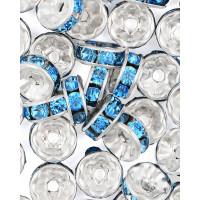 Прочие БУД-104-1-18025.001 Разделитель со стразами (рондель) д.0,8 см голубой