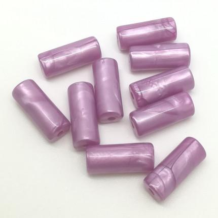 Бусы полимерные 10х25 мм, 10 шт/упак, сиреневый (арт. Бусы полимерные 10х25 мм, 10 шт/упак, сиреневый)