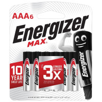 ENERGIZER E301532701 Батарейки КОМПЛЕКТ 6 шт., ENERGIZER Max, AAA (LR03, 24А), алкалиновые, мизинчиковые, блистер, E301532701