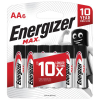 ENERGIZER E301533801 Батарейки КОМПЛЕКТ 6 шт., ENERGIZER Max, AA (LR06,15А), алкалиновые, пальчиковые, блистер, E301533801