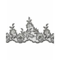 ЭКС-55-1-34072 Кружево декоративное ш.12,5 см серебристый 100 см