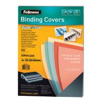 FELLOWES FS-53761 Обложки пластиковые для переплета А4, КОМПЛЕКТ 100 шт., 200 мкм, прозрачные, FELLOWES, FS-53761