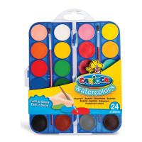 """CARIOCA KO054/A Краски акварельные CARIOCA """"Watercolor"""", 24 цвета, 2 кисти, пластиковая коробка, европодвес, KO054/A"""