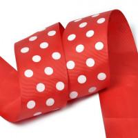 Прочие LDRG25002950 Лента репсовая в рубчик арт.LDRG25002950 (93) крупный горошек 50мм цв.красный-белый уп.27,4м