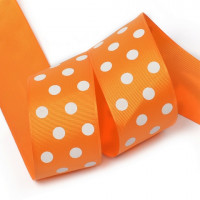 Прочие LDRG66802950 Лента репсовая в рубчик арт.LDRG66802950 (120) крупный горошек 50мм цв.оранжевый-белый уп.27,4м