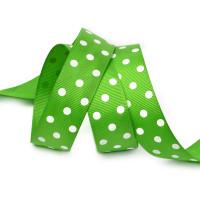 Прочие Лента репсовая в рубчик арт.LDRG57902925 (113) крупный горох 25мм  цв.зеленый-белый уп.27,4м Лента репсовая в рубчик арт.LDRG57902925 (113) крупный горох 25мм  цв.зеленый-белый уп.27,4м