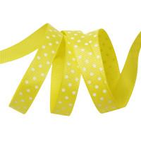Прочие Лента репсовая в рубчик арт.LDRG64002912 (115) крупный горох 12мм  цв.желтый-белый уп.27,4м Лента репсовая в рубчик арт.LDRG64002912 (115) крупный горох 12мм  цв.желтый-белый уп.27,4м