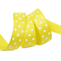 Прочие Лента репсовая в рубчик арт.LDRG64002925 (116) крупный горох 25мм  цв.желтый-белый уп.27,4м Лента репсовая в рубчик арт.LDRG64002925 (116) крупный горох 25мм  цв.желтый-белый уп.27,4м